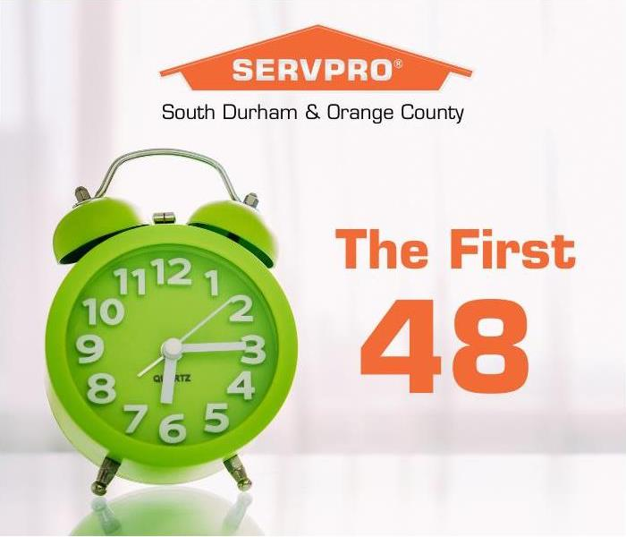 SERVPRO logo with a green clock and title, The First 48.